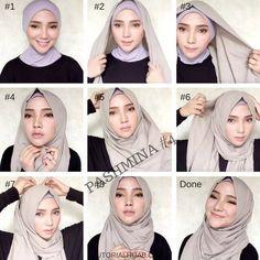 Simple Graceful Pashmina Hijab Tutorials for Formal and Everyday – Hijab … Square Hijab Tutorial, Simple Hijab Tutorial, Pashmina Hijab Tutorial, Hijab Style Tutorial, Hijab Casual, Hijab Chic, Modern Hijab Fashion, Street Hijab Fashion, Muslim Fashion