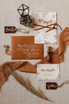 Gorgeously Detailed Styled Elopement at Enchanted Rock, TX Orange Wedding Invitations, Wedding Invitation Suite, Wedding Stationary, Invitation Design, Elope Wedding, Fall Wedding, Rustic Wedding, Our Wedding, Elopement Wedding