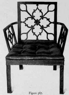 Figure 560 shows an arm-chair in which there is a suggestion of the Gothic style caused by the interweaving of ribbon-like pieces. The cresting is carved in rococo and leaf design, and pendent flowers. Movement Architecture, Gothic Chair, Interior Design History, Colonial Furniture, Ties That Bind, Cabinet Makers, Arts And Crafts Movement, Leaf Design, Rosettes