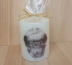 """Scented """"Timber Wolf"""" pillar candle#direction and leadership#live life powerfully#sharp intelligence and strong instincts    Available in these lovely fragrances:    Black Cherry - A strong aromatic scent of ripened sweet black cherries with faint undertones of musk. All the sweetness of Cherry while adding rum notes and deep red tartness.    Blueberry Muffin, The fragrance is juicy and mouth-watering, and makes an ideal present for someone who loves a fruity, warm fragrance.    The scent of…"""
