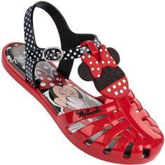 Sandália Infantil Disney Minnie Top Feminina Vermelha / Preta / Branca