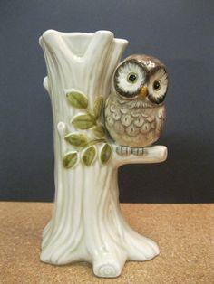Vintage Ceramic Owl Vase by Suite22 on Etsy, $10.00