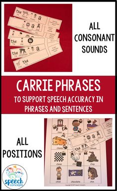 Carrier phrases are a significant step towards expanding sentences beyond the two-word level. These are great when working up the Articulation hierarchy. A carrier phrase is a repetitive sentence which enables the student to practice their targeted sound while still having a natural part to the session. This resource contains eight carrier sentences for each sound in every position (initial, medial, final)Each phrase has visual support to support phrase production. Speech Activities, Therapy Activities, Therapy Ideas, Preschool Activities, Phrases And Sentences, Articulation Therapy, Speech And Language, Speech Therapy, Classroom