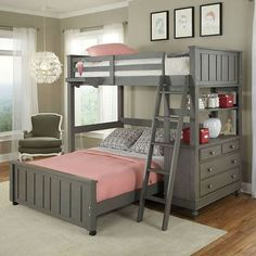 Twin Over Full Bunk Bed Loft with Chest & Ladder in Stone Wood Finish