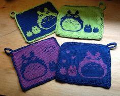 Totoro potholders. #Totoro #knitting