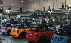 "Mini Cooper Pacman ghosts from ""Pixels""."