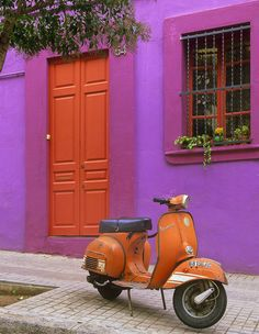 Orange Vespa and orange door, this looks like a house that could be in magdalena.imma find it & live there & get an old vespa. Orange And Purple, Orange Color, Magenta, Color Pop, Bright Purple, Periwinkle, Color Splash, Red Green, Pink Lila