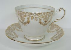 Regency Gold Teacup and Saucer Set Bone China England  Serving MicheleACaron on Etsy, $33.00