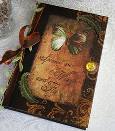 SPREAD YOUR WINGS altered collage Victorian journal, poetry book or sketchbook, hardbound with antiqued black embellishments. $40.00, via Etsy.