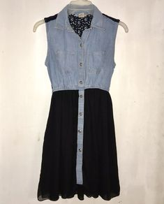79190e68a4c Girls Black Sheer  amp  Denim Dress with Silver Buttons Size M (10-12