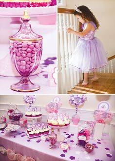 pink-purple-princess-party-dessert-table I'm having a party like this for my birthday Purple Princess Party, Purple Party, Princess Birthday, Pink Purple, Girl Birthday, Purple Birthday, Princess Theme, Royal Princess, Disney Princess
