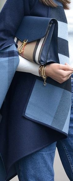 Burberry blue cape and matching bag