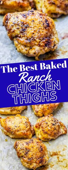 The Best Easy Baked Ranch Chicken Thighs Recipe - Easy, crunchy, delicious Baked Ranch Chicken Thighs are a super simple one pot baked chicken thigh recipe that is - bursting with ranch flavor in only Chicken Thighs Dinner, Keto Chicken Thighs, Chicken Thigh Seasoning, Bone In Chicken Thighs, Oven Baked Chicken Thighs, Marinated Chicken Thighs, Low Carb Recipes, Cooking Recipes, Healthy Recipes
