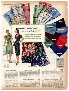1940s Fabrics & Color Palette