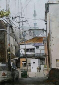 #watercolor #수채화 #미술 #그림 #art #painting #fine art #건물 #풍경#도시 #거리#scape #seoul