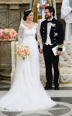 Prince Carl Philip with his bride, Sofia Hellqvist, during their wedding ceremony