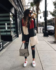 Top 5 Blanket Scarves | Thrifts and Threads. Grey sweater+grey ripped jeans+white sneakers with print+taupe Gucci Dionysus chain shoulder bag+three colors blanket-scarf. Winter Casual Outfit 2017