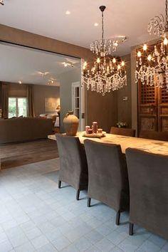 rustic table & elegant chandeiliers