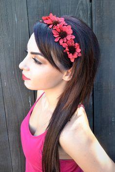 Elastic Flower Headband Hippie Headbands f811c77ee29