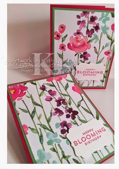 "Painted Blooms Birthday Set is made with Stampin' Up's ""Painted Blooms"" designer series paper and ""Flower Patch"" stamp set."
