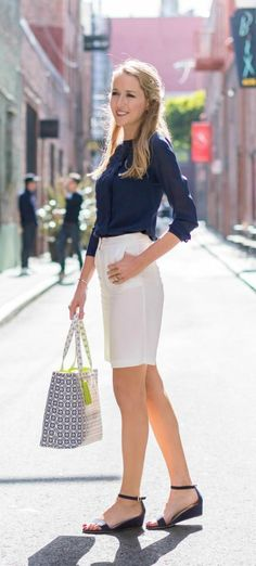 navy suede ankle strap wedge sandals, navy silk blouse, white bermuda shorts, navy white and lime print summer tote bag