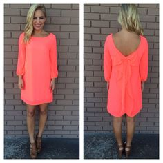 Dainty Hooligan NEON CORAL 3/4 SLEEVE BOW BACK DRESS