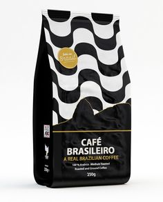 Café Brasileiro packaging designed by  NTGJ. Inspired by brazilian icons, such as the Pão de Açucar (Sugarloaf Mountain) and the Calçadão de Copacabana pattern, and illustrated in a minimal elegant way.
