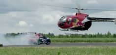 Mad Chase Between Helicopter and Drifting Race Car by Red Bull