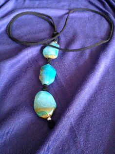 Collar de agatas en azules mar Lava, Turquoise Necklace, Pendant Necklace, Jewelry, Agate Necklace, Gems, Slip On, Blue Nails, Jewlery