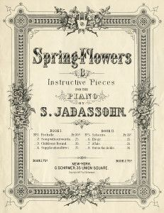 vintage sheet music, spring flowers, music sheet cover, digital music graphic, sheet music image