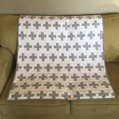 Modern plus sign baby blanket in Grey and White by FunkyBabyShop