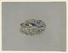 Grasset brooch, art nouveau, waves pattern