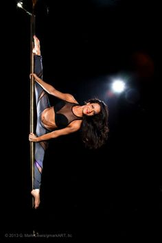 Pole Picture of the Day: Bad Kitty Brand Director Estee Zakar wearing the PoleFit® Showgirl Top and PoleFit® Ninja Pants. Photo by gmark Art #BKPPOD #pole #polefit #badkitty #Gmark #ImaNinja
