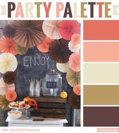 "This is just an absolutely perfect color palette for a sophisticated fall party! Instead of bright orange, there are pretty shades of brown, peach, and even a bit of coral. It absolutely screams ""fall"" without using a single leaf (and only the tiniest of pumpkins). Really lovely. Photo: Oh My Little Dears Check out more ""Party Palettes"" (color palettes to inspire your party planning) here. You can also follow my special ""Party Palettes"" Pinterest board."