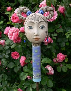 "Gartenschmuck aus Keramik, ""Zopfliese Lara-Luna"", Garten gestalten / gardening inspiration: decor head made of pottery made by Brigitte_Peglow via DaWanda.com"
