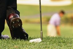 Etiquette is a code of behavior that delineates expectations for social behavior according to contemporary conventional norms within a society, social class, or group.     Golf Etiquette -- Wait for players ahead to get off the green before taking your approach shot.  And, be courtious to offer the group behind you to play through if they are playing faster.
