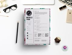 Floral CV template by Chic templates on @creativemarket