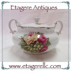 Weimar Biscuit Jar. #vintage #biscuits #porcelain #collectible #flowers #shopping #shoponline #shopsmall #gotvintage #etagereantiques