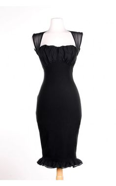 Pinup Couture- Micheline Dress in Black with Black Chiffon Trim | Pinup Girl Clothing