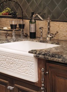 farm sinks for kitchens | ... farmhouse sink in a tastefully elevated french country style kitchen