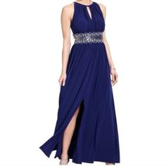 Royal blue evening dress Sleeveless beaded evening gown, dress was only worn once and dry cleaned. Embellished belt is attached to the dress. Fits correctly to size; and there were no modifications R&M Richards Dresses Prom