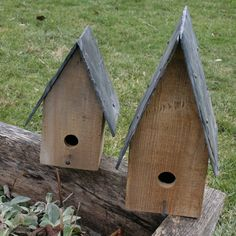 Reclaimed slate roof birdhouses by HayCreekDesign on Etsy