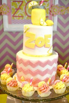 Zoe's Lemonade and Cupcakes Themed Party – Cake