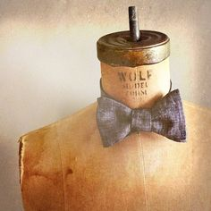 Great Gatsby inspired - Meyer Wolfsheim - Mens / Boys Bow Tie - JAZZ AGE Number 88 - Limited Edition Remnant Black Papyrus Linen