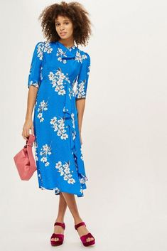 213bf186e90 ex TOPSHOP Blue Floral Print Jacquard Midi Dress UK 4-16 RRP £65