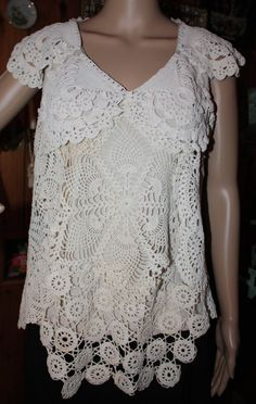 Doily blouse, shirt, cap sleeves, eco