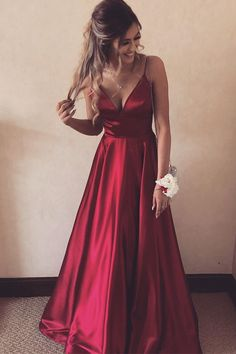 Simple Spaghetti Straps Prom Dresses Long 2020 Fashion Long Evening Gowns Custom Made Long School Dance Dress Girl's Pagent Dresses Dresses Elegant, Cute Prom Dresses, Prom Outfits, Modest Dresses, Dance Dresses, Pagent Dresses, Burgundy Prom Dresses, Prom Dresses Dark Red, Prom Dresses For Teens Long