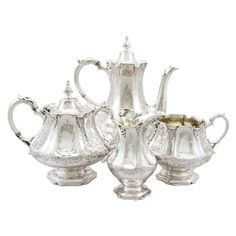 For Sale on - An exceptional, fine and impressive antique Victorian English sterling silver four piece tea and coffee service/set; part of our silver teaware collection. Victorian Tea Sets, Antique Tea Sets, Coffee Service, Tea Service, Vintage Tea Kettle, Silver Tea Set, Silver Accessories, Kitchen Accessories, Antiques For Sale