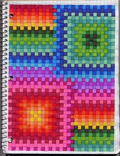 Students use graph paper to create art. This is a great project for students who finish art assignments early or for those days you have a sub. Pictures using the spaces.