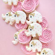 Baby Shower Minis #babyshower #babygirl #roses #elephants #pink #bows #babyshowerideas #babyshowerfavors #sugarcookies #decoratedcookies…